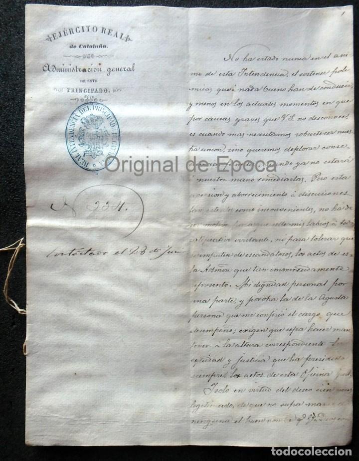 (JX-190440)DOCUMENTO 3ª GUERRA CARLISTA DE D. FRANCISCO SOLA A D.MARTIN MIRET.EJERCITO REAL CATALUÑA (Militar - Propaganda y Documentos)