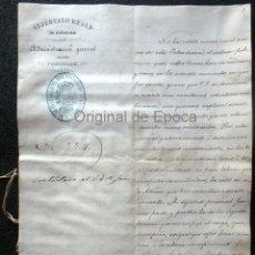 Militaria: (JX-190440)DOCUMENTO 3ª GUERRA CARLISTA DE D. FRANCISCO SOLA A D.MARTIN MIRET.EJERCITO REAL CATALUÑA. Lote 159467622
