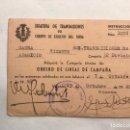 Militaria: MILITAR. CARNET OBRERO DE LÍNEAS DE CAMPAÑA. JEFATURA DE TRANSMISIONES. VALENCIA A.1946. Lote 159767602