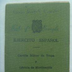 Militaria: CARTILLA MILITAR DE TROPA DE SOLDADO DE TRIGUERO ( HUELVA ) REEMPLAZO 1962. Lote 161118534