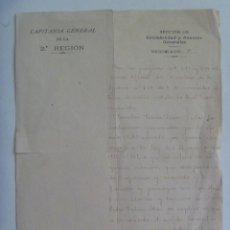 Militaria: CAPITANIA GENERAL 2ª REGION: NOMBRAMIENTO CAPITAN HONORIFICO POR GUERRA, 1922. Lote 161534598