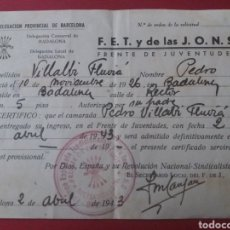Militaria: BADALONA. BARCELONA. FET Y JONS. FRENTE JUVENTUDES. 1943. Lote 162011904