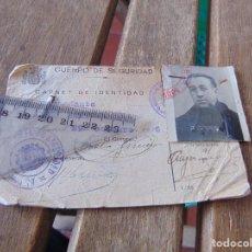 Militaria: EJERCITO ESPAÑOL CARNET IDENTIDAD REPUBLICA EJERCITO REPUBLICANO CUERPO DE SEGURIDAD COMANDANTE 1936. Lote 162699378