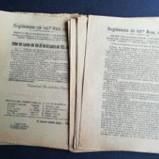 Militaria: 30 ÓRDENES SERVICIO DE LA PLAZA REGIMIENTO DE INFANTERÍA ASIA Nº 55 - AÑOS 1915 Y 1916. Lote 163513138