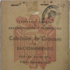 Militaria - COLECCION DE CUPONES DE RACIONAMIENTO. CARTILLA RACIONAMIENTO. 3º CATEGORIA. 1º SEMESTRE 1952. - 163729774