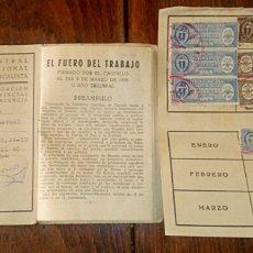 Militaria: CARNET CENTRAL NACIONAL SINDICALISTA CON SELLOS DE COTIZACIONES. VALENCIA 1940. CON FOTO.. Lote 164069676