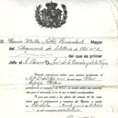 Militaria: R51-DOCUMENTO AUTORIZACION MILITAR PARA CONTRAER MATRIMONIO,SELLO DE ARETILLEIA A PIE Nº 2 DE 1929. Lote 164691842