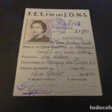 Militaria: CARNET PROVISIONAL ADHERIDO FALANGE ESPAÑOLA MADRID 1940. Lote 165005354