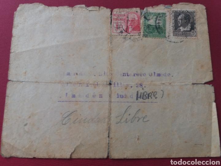 CARTA MADRID A ALMADEN. CIUDAD LIBRE. 1937. FRENTE POPULAR ANTIFASCISTA DE EL PEDROSO. SEVILLA (Militar - Propaganda y Documentos)