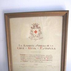 Militaria: DIPLOMA MEDALLA PLATA ASAMBLEA SUPREMA CRUZ ROJA ESPAÑOLA 24 ABRIL 1941 ENMARCADO CON CRISTAL. Lote 165294622