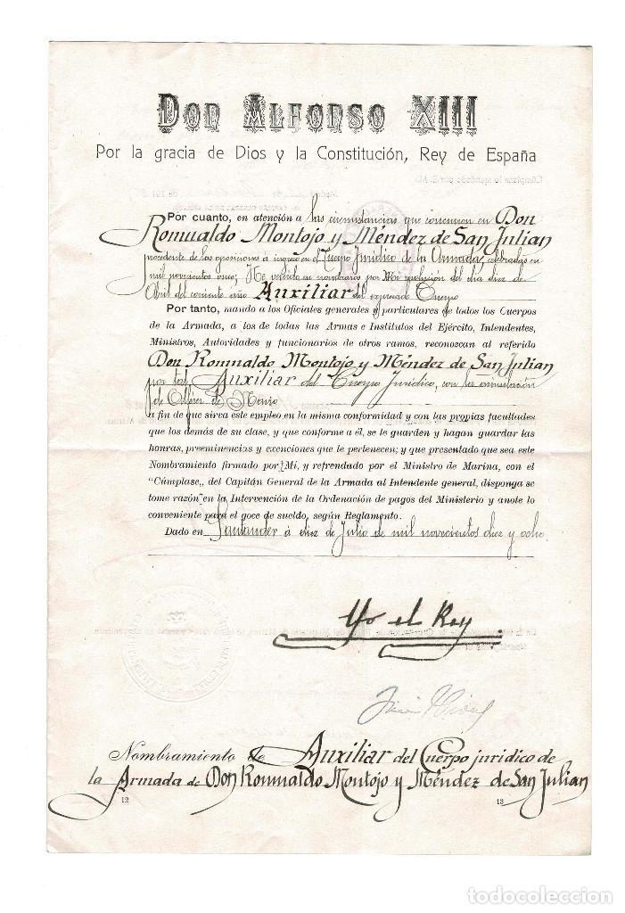 NOMBRA AUXILIAR DEL CUERPO JURIDICO DE LA ARMADA. SANTANDER 1918 (Militar - Propaganda y Documentos)