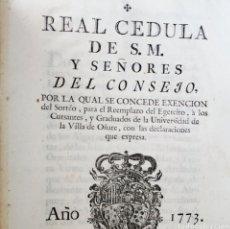 Militaria: DOCUMENTO ORIGINAL 1773 - REY CARLOS III - REAL CEDULA - UNIVERSIDAD DE OÑATE - MILITAR - REEMPLAZO. Lote 165634794