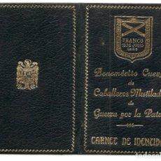 Militaria: CARNET DE IDENTIDAD DEL BENEMÉRITO CUERPO DE CABALLEROS MUTILADOS DE GUERRA POR LA PATRIA. Lote 165757142