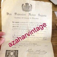 Militaria: CERTIFICADO PARA USAR LA MEDALLA DE COBRE CONMEMORATIVA DE LA JURA DE ALFONSO XIII. PRÁXEDES SAGASTA. Lote 165959302