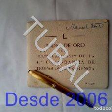 Militaria: TUBAL L ANIVERSARIO REEMPLAZO 1919 4 COMANDANCIA TROPAS INTENDENCIA. Lote 166007622