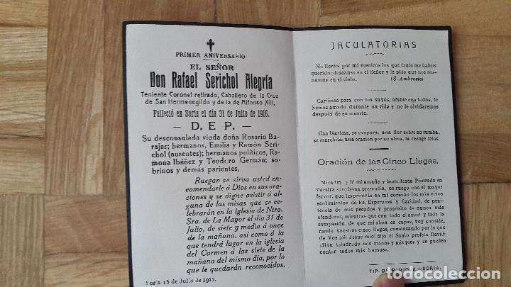 RECORDATORIO TENIENTE CORONEL RETIRADO - DON RAFAEL SERICHOL ALEGRIA - CRUZ SAN HERMENEGILDO - ALFON (Militar - Propaganda y Documentos)