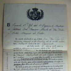 Militaria: DOCUMENTO DEL CORONEL DEL PRIMER REGIMIENTO MONTADO DE ARTILLERIA 1914. Lote 166354506