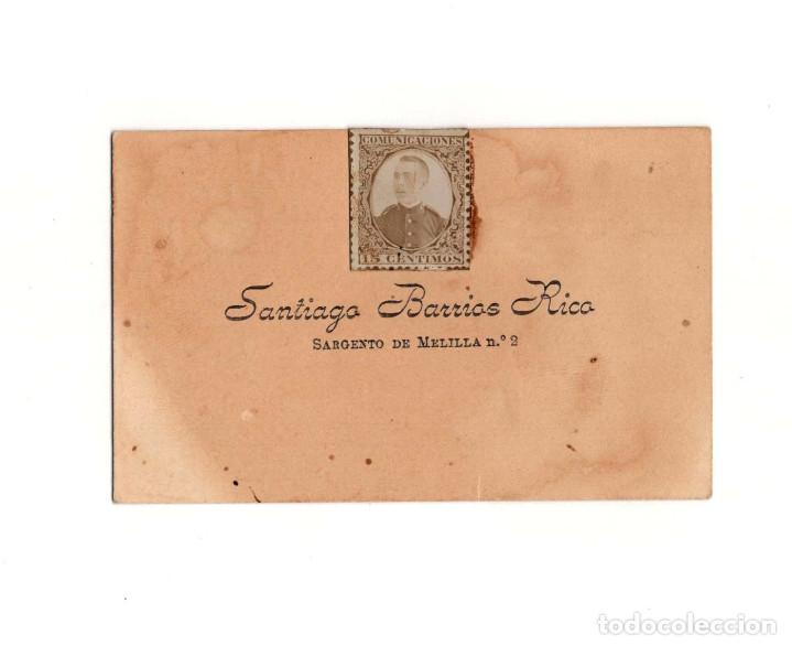 TARJETA DE VISITA MELILLA 1899. SARGENTO DE MELILLA Nº2 SANTIAGO BARRIOS RICO (Militar - Propaganda y Documentos)