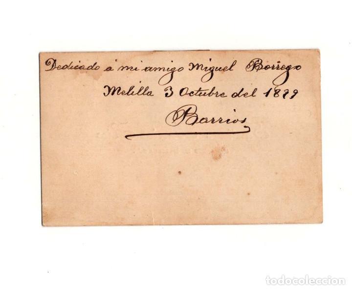 Militaria: TARJETA DE VISITA MELILLA 1899. SARGENTO DE MELILLA Nº2 SANTIAGO BARRIOS RICO - Foto 2 - 166370122