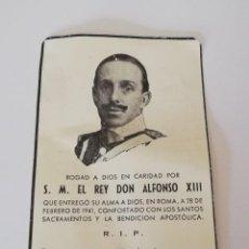 Militaria: RECORDATORIO S.M. EL REY DON ALFONSO XIII ,ROMA 28 FEBRERO 1941, MONARQUIA, MIDE 11 X 6,8 CMS.. Lote 166588698