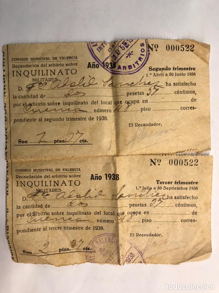 MILITAR. INQUILINATO MILITAR, DOCUMENTO CONSEJO MUNICIPAL DE VALENCIA (A.1938) (Militar - Propaganda y Documentos)