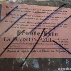 Militaria: FOLLETO PARA ALISTARSE A LA DIVISION AZUL,.FRENTE ESTE. PONFERRADA. LEON FALANGE. Lote 195184188
