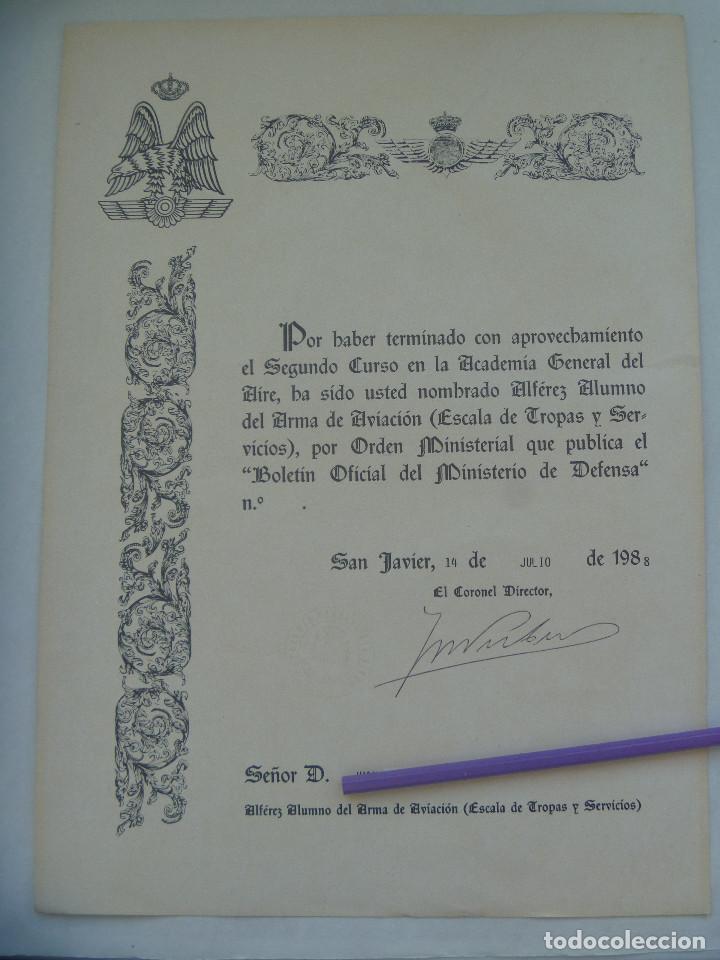 AVIACION - ACADEMIA GENERAL DEL AIRE : NOMBRAMIENTO ALFEREZ ALUMNO. SAN JAVIER, 1988 (Militar - Propaganda y Documentos)