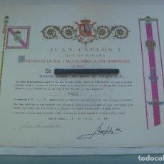 Militaria: REAL ORDEN DE SAN HERMENEGILDO : DIPLOMA CONCESION PLACA A TENIENTE CORONEL DE AVIACION. 1989. Lote 166834746