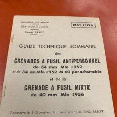 Militaria: ANTIGUO MANUAL O GUIA DE GRANADAS DE FUSIL ANTIPERSONA Y MIXTA. 1A EDICION 1962. RARO. Lote 167497728