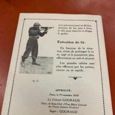 Militaria: ANTIGUO MANUAL DESPLEGABLE O GUIA DE AMETRALLADORA, PISTOLET MITRALLEUR. 1A EDICION 1949. RARO. Lote 167500632
