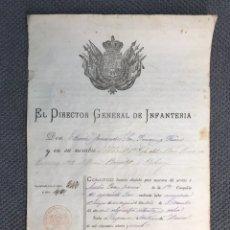 Militaria: MILITAR. UTIEL REQUENA (VALENCIA) CONCESIÓN DE LICENCIA ABSOLUTA (A.1879). Lote 167623048