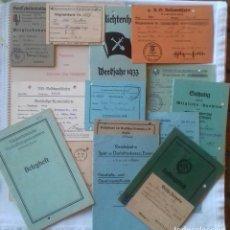 Militaria: LOTE DE 19 DOCUMENTOS E INSIGNIA DRA DESDE 1933 A 1943 A LA MISMA PERSONA. ALEMANIA TERCER REICH. Lote 167956256