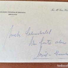 Militaria: REGIMEN GENERAL FRANCO,TARJETA DEL ALCALDE DE BARCELONA JOSE M.SOCIAS HUMBERT,FIRMA AUTOGRAFA. Lote 167968188