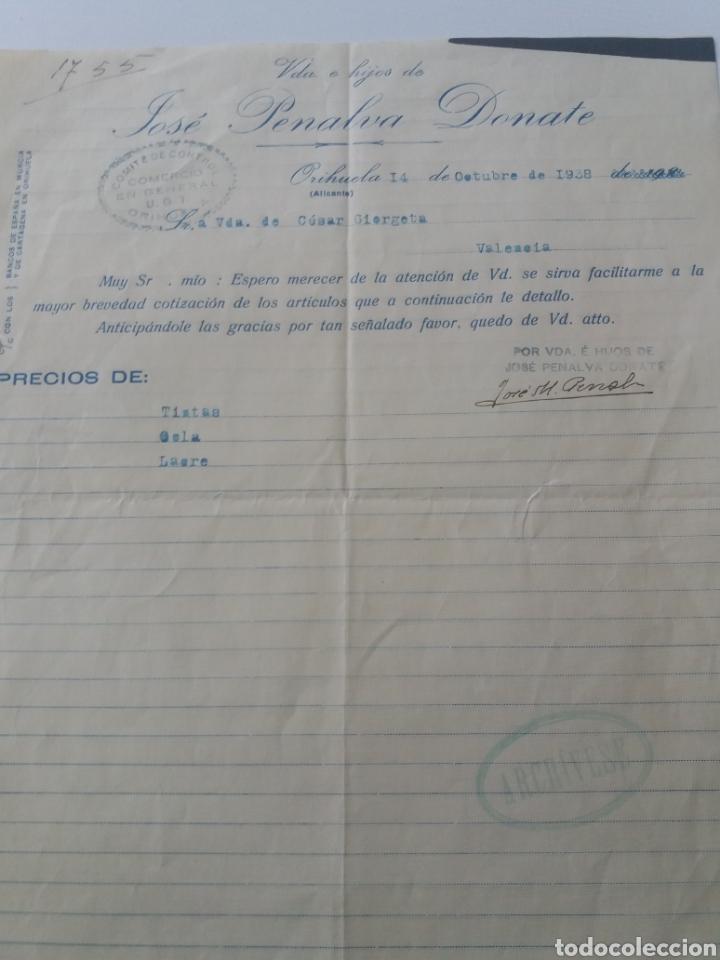 ORIHUELA. ALICANTE. JOSÉ PENALVA. VDA. COMITÉ CONTROL UGT. 1938 (Militar - Propaganda y Documentos)
