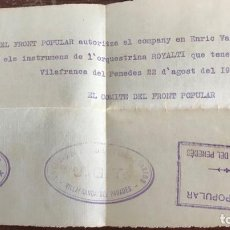 Militaria: COMITÉ DEL FRONT POPULAR C.N.T. I U.G.T 22-8-1936 VILAFRANCA DEL PENEDES. GUERRA CIVIL. . Lote 168011068