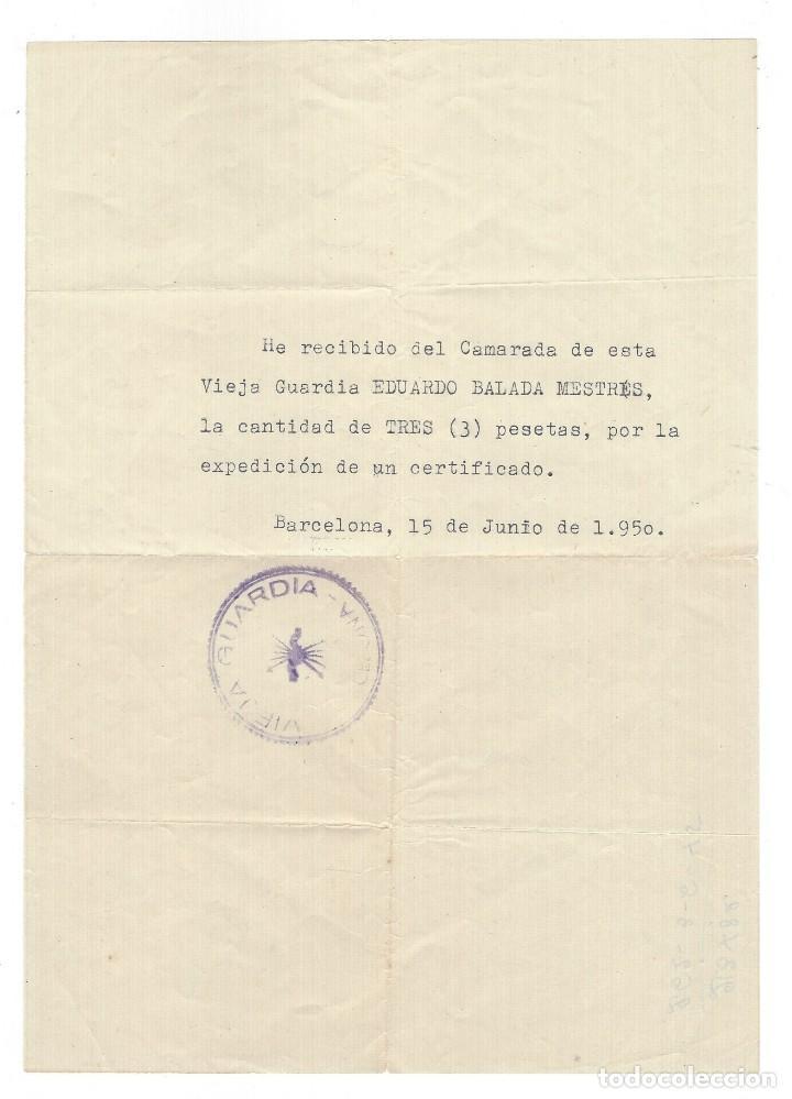 DOCUMENTO DE LA VIEJA GUARDIA DE FRANCO (Militar - Propaganda y Documentos)