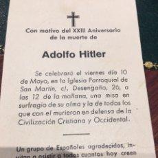 Militaria: RECORDATORIO XXIII ANIVERSARIO MUERTE DE HILTLER. Lote 168342109