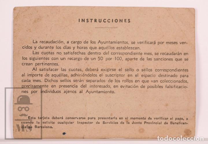 Militaria: Tarjeta / Ficha Resguardo con Cupones Plato Único / Día Sin Postre, Ministerio Gobernación, Badalona - Foto 2 - 168566284