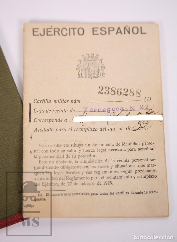 Militaria: Cartilla Militar del Ejército - Cartilla, Hoja Movilización, Hoja Concentración - Tarragona, 1932 - Foto 3 - 168704880