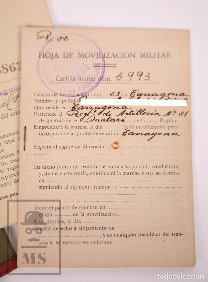 Militaria: Cartilla Militar del Ejército - Cartilla, Hoja Movilización, Hoja Concentración - Tarragona, 1932 - Foto 8 - 168704880