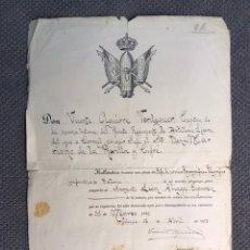 Militaria: MILITAR. 5O. REGIMIENTO DE ARTILLERÍA LIGERA. DOC. VACANTE PLAZA JEFE SERVICIO TOPOGRÁFICO (A.1920). Lote 168866198