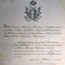 Militaria: MILITAR. 8O. REGIMIENTO MONTADO DE ARTILLERÍA LIGERA. 5A. BATERÍA DOC. VACANTE PLAZA DE ARTIFICIERO. Lote 168868617