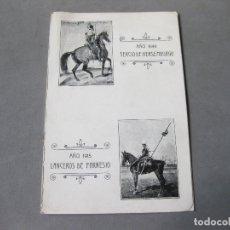 Militaria: PROGRAMA DE 1915 DE LOS ACTOS DEL ANIVERSARIO DEL REGIMIENTO DE CABALLERÍA LANCEROS DE FARNESIO. Lote 169045464