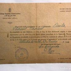 Militaria: FALANGE DE LAS JONS. ALCUDIA DE CARLET (VALENCIA) DECLARACION EXIGIDA A EFECTOS DEPURATORIOS (A.1934. Lote 169142237