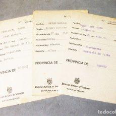 Militaria: 4 FICHAS DE LA DIRECCIÓN GENERAL DE SEGURIDAD DE EXTRANJEROS - PROVINCIA ORENSE. Lote 169381304