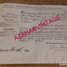 Militaria: ZAMORA, 1827, PASAPORTE CONCEDIDO A SARGENTO MAYOR PARA VIAJAR A PINILLA,TORO,ZAMORA. Lote 169401644