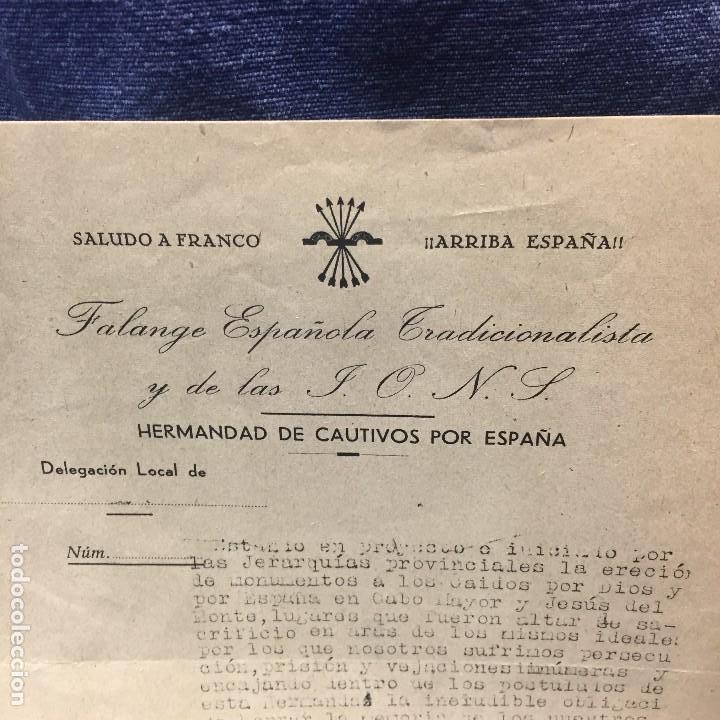 Militaria: saludo a franco arriba españa falange española tradicionalista y de las jons hermandad cautivos 1941 - Foto 5 - 169475208