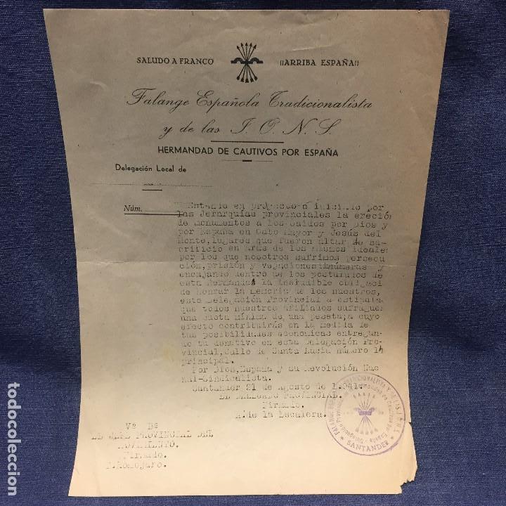 SALUDO A FRANCO ARRIBA ESPAÑA FALANGE ESPAÑOLA TRADICIONALISTA Y DE LAS JONS HERMANDAD CAUTIVOS 1941 (Militar - Propaganda y Documentos)