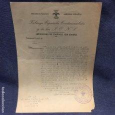Militaria: SALUDO A FRANCO ARRIBA ESPAÑA FALANGE ESPAÑOLA TRADICIONALISTA Y DE LAS JONS HERMANDAD CAUTIVOS 1941. Lote 169475208