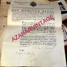 Militaria: VALLADOLID, 1830,CERTIFICADO PURIFICACION TENIENTE CORONEL COSIO, FIRMA DOMINGO PAVIA Y CONDE IBEAGH. Lote 169580076